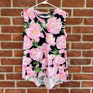 French Connection pink floral sleeveless blouse